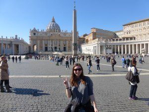 Me in front of Basilica San Pietro in the Vatican. A peace sign felt appropriate.
